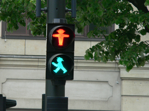The winners: Ampelmännchen (German: little traffic light man) in east Berlin. These are the iconic little men that tell people whether to walk or wait in the former GDR. Photo via Isphotos.