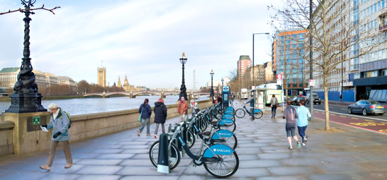 A new bike share system in London adds momentum to a two-wheel revolution in cities around the world. Image via Barclays.com.