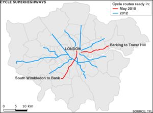 The cycling routes as they were announced last year. The two red routes were launched today. Image via news.bbc.co.uk.