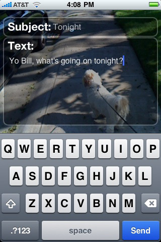 Using the phone's camera, iPhone's Email n Walk app makes the phone transparent. Image via gadgetwise.blogs.nytimes.com.