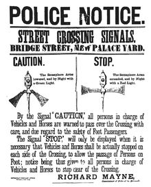 The first pedestrian crossing signal was installed in London in 1868, but it was controversial and removed quickly. Image via http://en.wikipedia.org/wiki/Pedestrian_crossing.