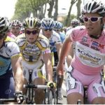 The Giro d'Italia is a road bicycle racing stage race second only to Tour de France in age and prestige, and might come to D.C. for its first two stages in 2012. Above, Britain's Mark Cavendish (right) chats with Lance Armstrong. Photo via telegraph.co.uk.