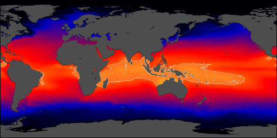 The driver of sea level rises is the Indo-Pacific warm pool, shown in bright orange, which has warmed by 1 degree Fahrenheit -- or .5 degree Celcius -- over the past 50 years, mostly due to human-generated greenhouse gas emissions. Image via NASA Earth Observatory.