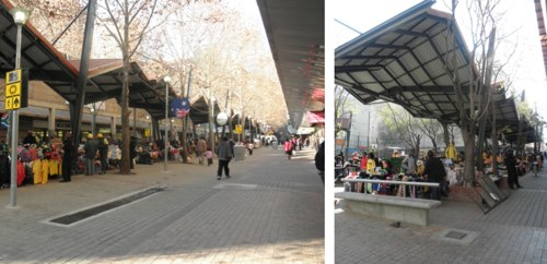 Upgraded linear markets on pedestrianized Kerk Street (left) and Joubert Street (right) in central Joburg's Retail Improvement District. Photo by Aileen Carrigan.