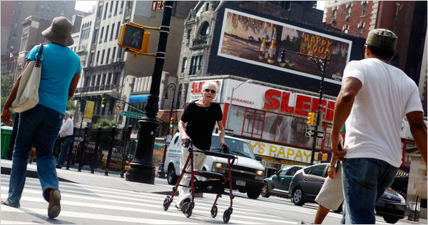 New York has added four seconds to the time pedestrians are given to cross intersections as part of an effort to make the city more friendly to the elderly. Photo via NYTimes.