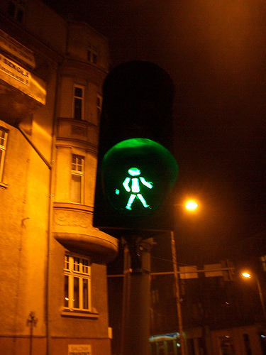 Pretty cute: the green man in Zgorzelec, Poland. Photo via elmada.