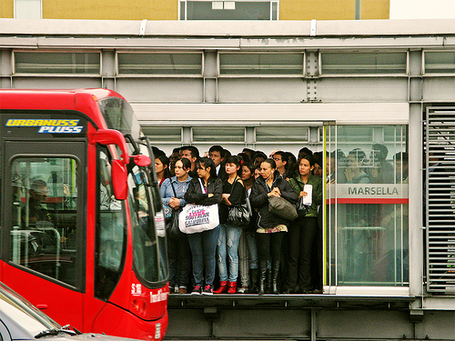 Poor transit options can perpetuate cycles of inequality in Latin America. Improvements in public transit -- with BRT systems like Bogota's TransMilenio, pictured above -- can help poor people break this cycle. Photo via Gerard :-[.