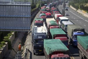 China's traffic jam could last to mid-September. Photo via The Wall Street Journal.