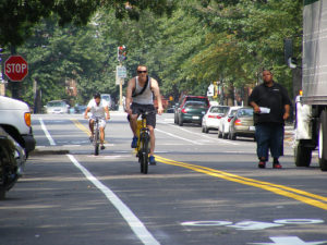 A new contraflow bike lane on New Hampshire Avenue. Photo via DDOTDC.