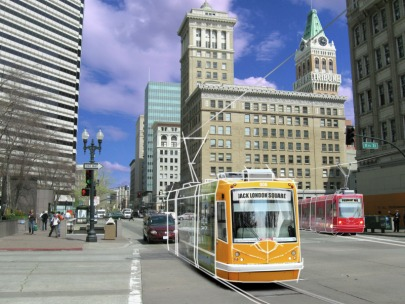 Daniel Jacobson's Oakland Streetcar Project would bring new development and jobs to Oakland while cutting greenhouse gas emissions in half. Image via OaklandStreetcarPlan.com.