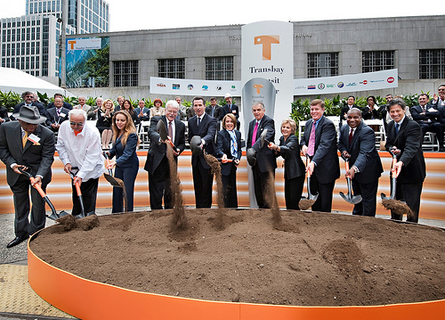 Construction on the Transbay Transit Center in San Francisco was begun. Among those at the ceremony were U.S. House Speaker Nancy Pelosi and Transportation Secretary Ray LaHood. Photo by Speaker Pelosi