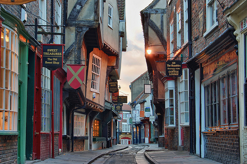 """The Shambles"" street in York is reputed to be Europe's best-preserved medieval street, and was recently voted Britain's most pisturesque. It is also very walkable. Researchers in York want to take this level of livability to scale around the UK. Photo via tj.blackwell."