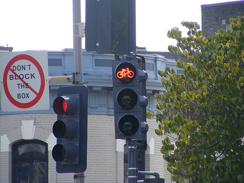 New bike traffic signals on New Hampshire Avenue tell cyclists when they can continue onto 16th Street. Photo via DDOTDC.