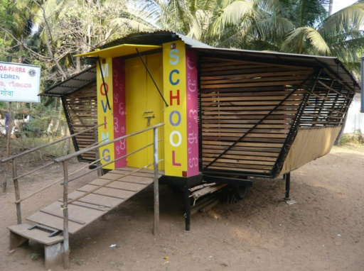 Another design of a mobile school deployed in Goa, India. Photo courtesy of mobileschools.org