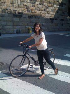Following the bike rules in downtown Washington, DC.
