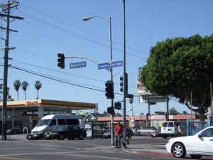 A typical streetscape in the Arlington Heights neighborhood of Los Angeles.