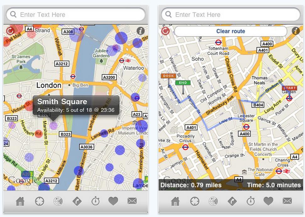 Screenshot of the Barclay Bikes iphone app.