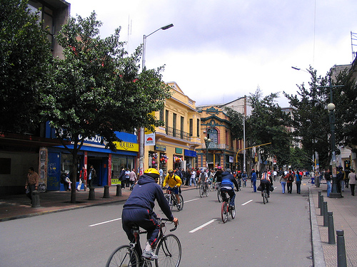 Car free day in Bogota, Columbia circa 2007. Photo by themikebot.