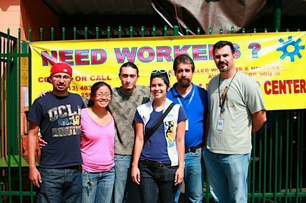 Member of the City of Lights team with day laborer organizers. Photo by City of Lights.