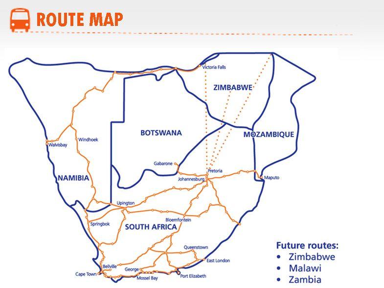 intercape bus map