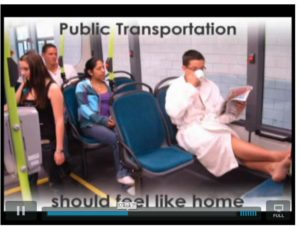 """One line of the video even says, """"public transportation should feel like home."""" Photo courtesy of Y4PT."""