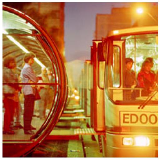 The loading dock of a BRT system in Curitiba, Brazil. Photo via Inhabitat.com