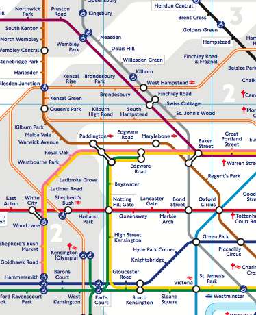 A section of London's Tube Map, showing some of the key features Booth highlights.