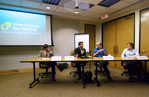Ethan Arpi, Gabe Klein, Jon Orcutt and David Alpert discuss sustainable transportation best practices. Photo by Aaron Minnick.