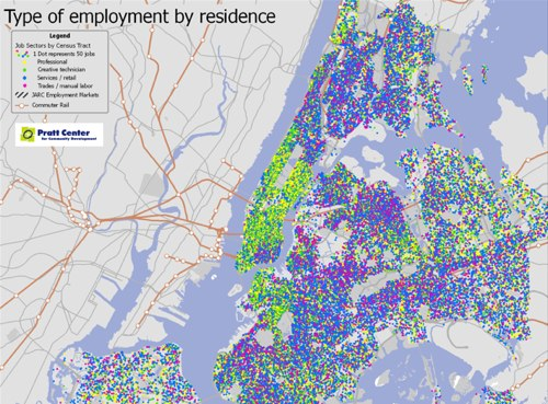 The Pratt Center published a series of maps that show commuting patterns of some 289,000 residents of 13 predominantly low- and moderate-income communities in New York City. Map via Pratt Center.