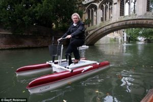 Reporter Paul Harris floats down the River Cam in eastern England. Photo via the Daily Mail.