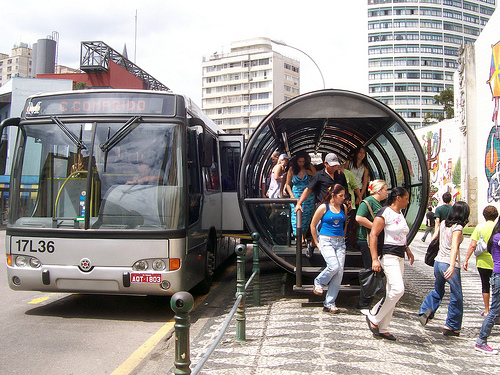 The famous bus station of Curitiba's BRT. Photo by Zhu.