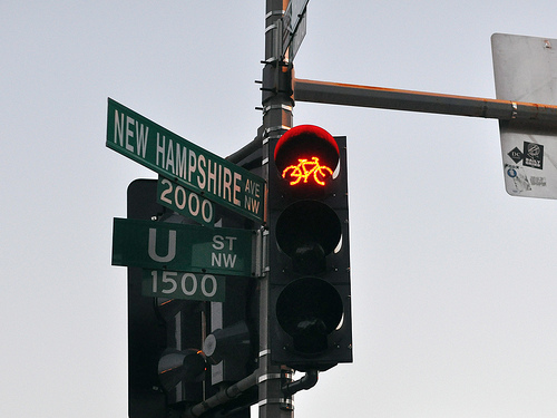 A new bike signal in Washington, DC. Photo by M.V. Jantzen.