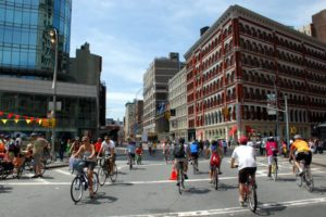An image from the DOT-run program, Summer Streets. Certain streets are closed to cars on some Saturays in the City.