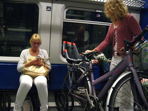 Train bike rack in Copenhagen. Photo by Sam Teigen.