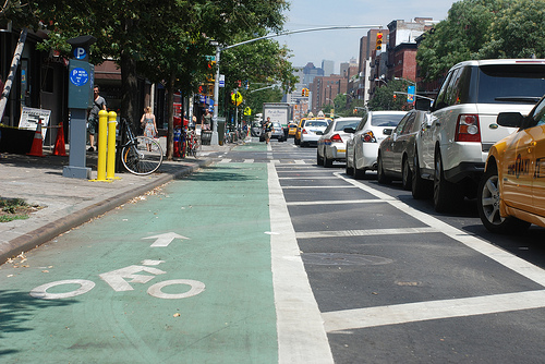 New York City's new-ish First Avenue bike lane.