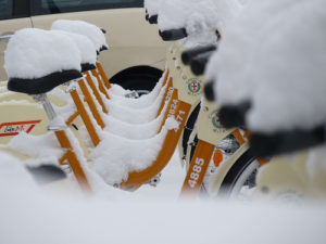 In snowy cities, winter bikers winter in warehouses to avoid damage and low usage. Photo by *DRAMA QUEEN*.