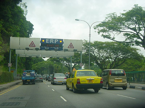 Singapore's Electronic road pricing. Photo by Paul Barter.