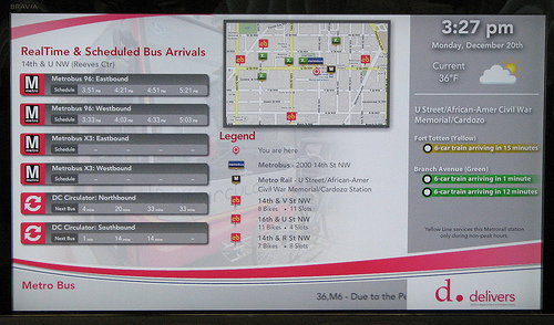 These new display screens will be rolled out in bus stops and at heavily trafficked intersections around the city. Photo by Erik Weber.