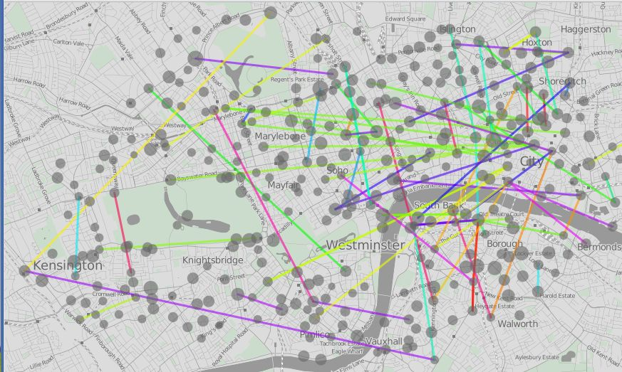 A visualization of usage of London's public bike share program, Barclay bikes. The color of the lines indicate direction of flow. Data is from Barclay Cycle Hire. Visualization by Oliver O'Brien.