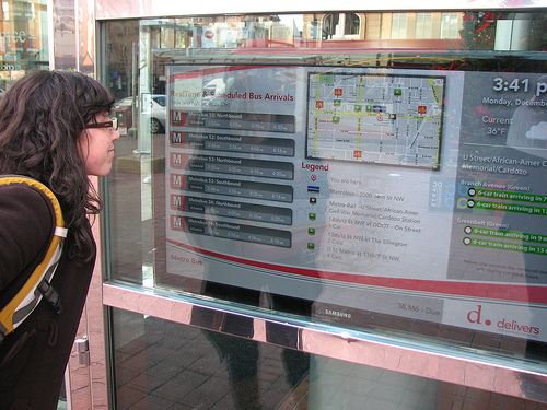 Transit riders can find local information from weather updates to route maps. Photo by Erik Weber.