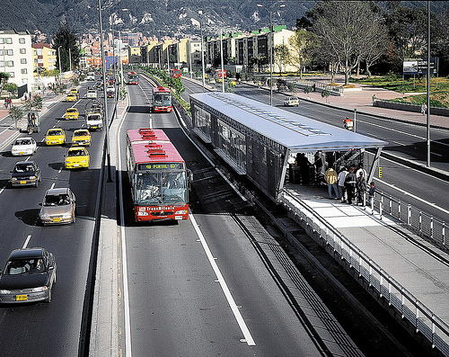 Happy Birthday! Bogota's Transmilenio bus system is 10 years old this month. Photo by CTS-Mexico.