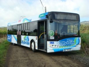The Solaris Urbino 12 Hybrid, made by Eaton, is one example of their hybrid bus fleet. This particular particular model uses 33 percent less fuel and is in operation on Reunion Island.