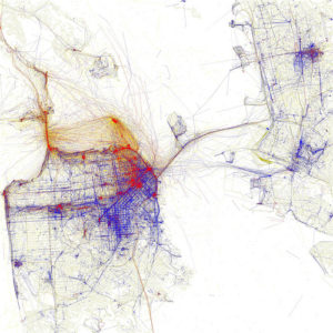 Geodata of open source Flickr data in San Francisco. (Photos taken by tourists are in red, blue by local and yellow could be both). Photo by Eric Fischer.