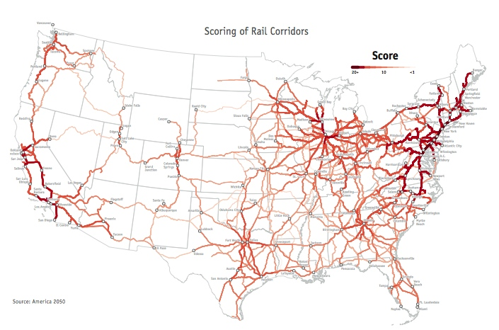 The America 2050 High-Speed Rail in America report was released this week and maps out the most promising high-speed rail corridors across the United States.