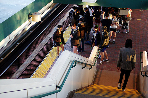 People go pant-less on the 29th Avenue Station Skytrain in Vancouver, British Columbia. By eych-you-bee-ee-ahr-tee.