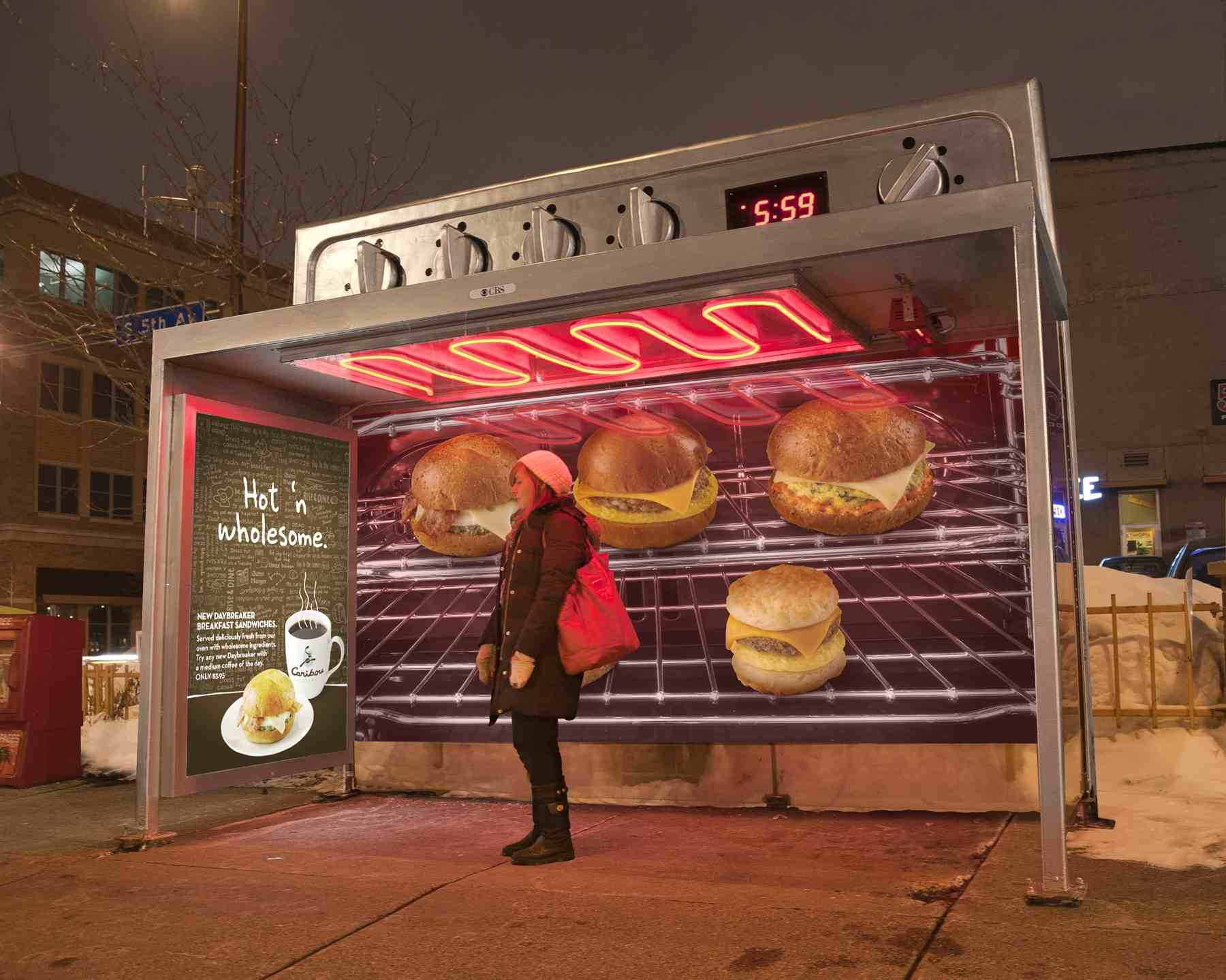 Caribou coffee designs heated bus shelters to prote its new sandwich.
