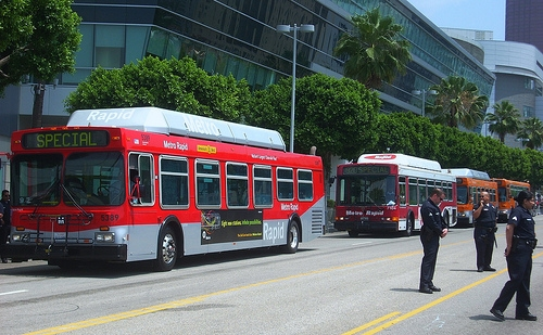 Los Angeles County Metro Transit Authority buses will now all be run on clean, alternative fuels. Photo by Chris.