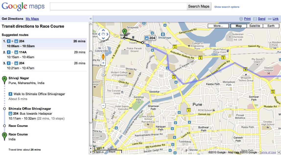 Pune's bus service has become the fifth Indian transit agency to offer schedule and route information on Google Transit. Screenshot from Google Transit.