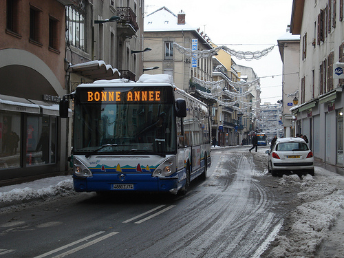 Happy New Year bus in Annecy, France. Photo by Surat Lozowick.