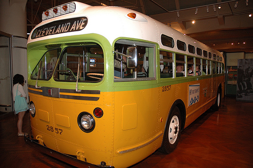 Rosa Parks refused to give up her seat on this bus, now on permanent display at The Henry Ford Museum and Greenfield Village. Photo by Chuck Miller.